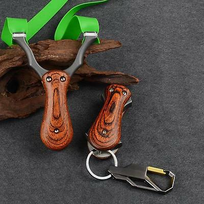 Folding Steel Wood Slingshot Rubber Bands with Pocket Portable Hunting Catapult