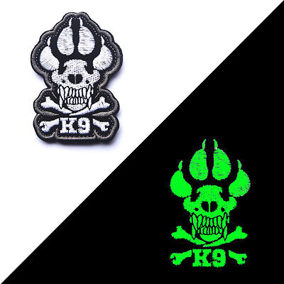 Glowing Embroidered K9 CROSSBONES Attack Dog Tactical Morale Hook Patch Badge