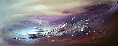 Colour on Canvas - Abstract Textured Metallic Contemporary Canvas Silver@Purples