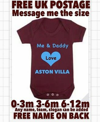 Aston Villa Babygrow Love Daddy Mummy Bodysuit Birthday Personalised