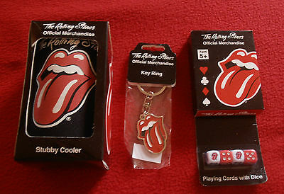 ROLLING STONES MERCHANDISE 1 x COOLER / METAL KEY RING TAG & CARDS WITH  DICE