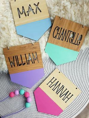 Personalised Children's Bamboo Name Sign Plaque Bunting Flag