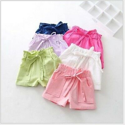 Child Bowknot Hot Shorts Kids Baby Toddler Girls Cotton Shorts Pants Trousers AU