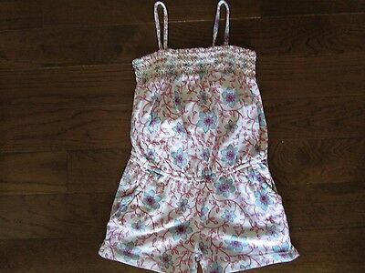 Baby Gap Brand Girl's Sz. 5 Yr. Floral Shorts Romper White/Blue/Pink EUC