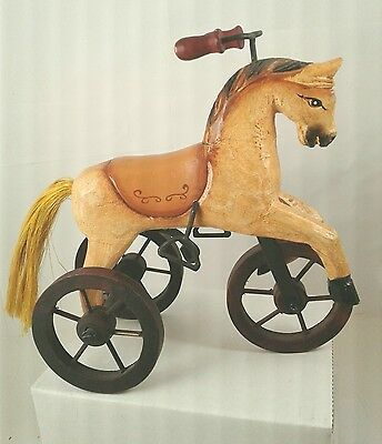 VICTORIAN style ANTIQUE TOY vintage  WOODEN TAN HORSE TRICYCLE HAND CARVED