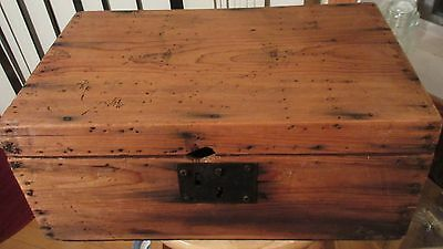 Antique 19th Century 1800s Otis T. Allen Wood Trunk Box Valise Primitive AAFA