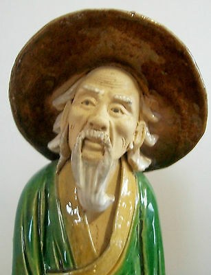 """Antique Chinese Peasant with jug, 9"""" tall ,  marked """"CHINA"""""""
