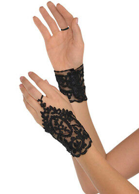 Womens Stunning 1920s Black Lace Gloves
