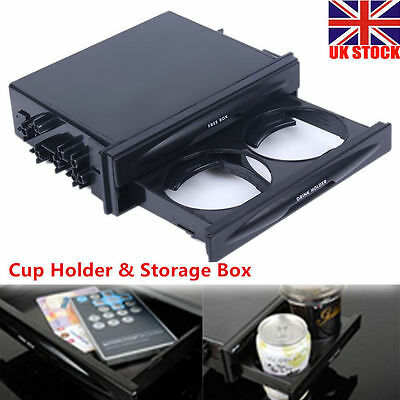 Car Double Din Radio Pocket Kit Drink Cup Holder Deluxe + Storage Box Universal