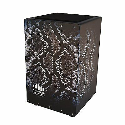 Echoslap GFX Snake Pattern Cajon, Black, Hand Crafted, Adjustable Snare