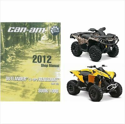 2012 Can-Am Outlander Renegate 800R 1000 Service Manual on a CD