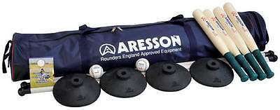 Aresson Team Builder Complete Rounders Set 4 Bats 1 Ball 4 Posts & Bases In Bag