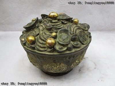China Folk Classic Bronze Gilt Yuan Bao Money valuables wealth Nine Dragon bowl