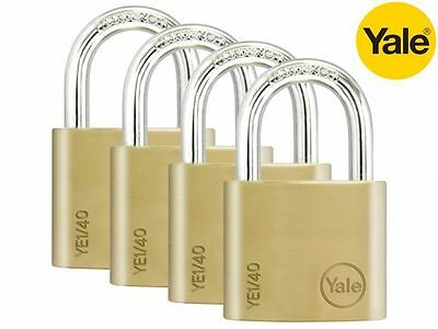 4 PACK YALE SECURITY PADLOCKS SOLID BRASS KEYED ALIKE 20mm/40mm HIGH QUALITY