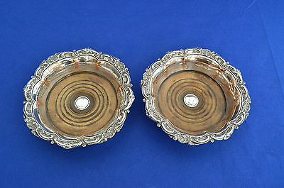 A Pair of Antique Bottle Coasters c1830 - Old Sheffield Plate - Silver Plate -