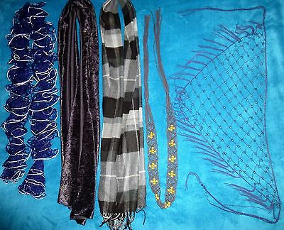 Women's Lot of 3 Scarfs and 2 Belts Various Colors and Styles