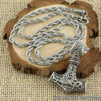 Viking Thor's Hammer Antique Silver Mjolnir Pendant With Twisted Steel Necklace
