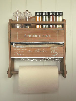 Shabby Chic French Kitchen Roll Dispenser Cling Film Tin Foil Holder Wall Unit