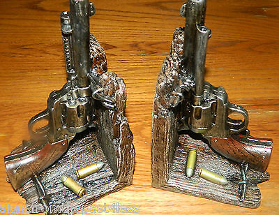 Western Cowboy Outlaw Pair Bookends Guns Pistol Bullets Ammo Cabin Lodge Decor