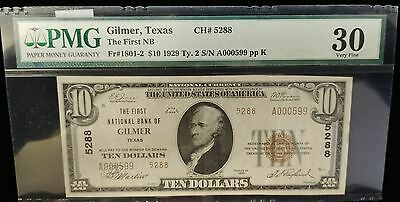 1929 First National Bank of Gilmer Texas $10 banknote
