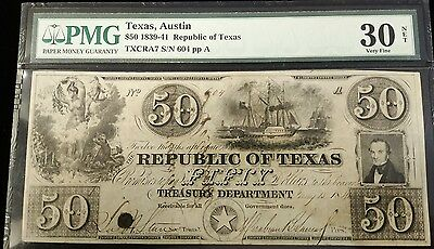 1839-41 $50 Republic of Texas Banknote