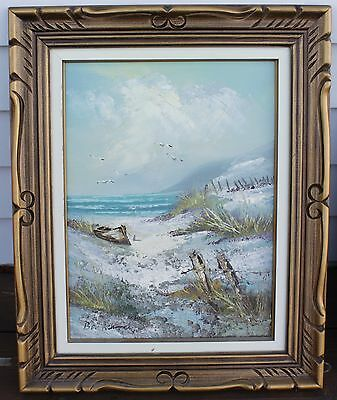 """Framed Oil Painting On Canvas - Seascape - Signed """"Bonnard"""" - Palette Style"""