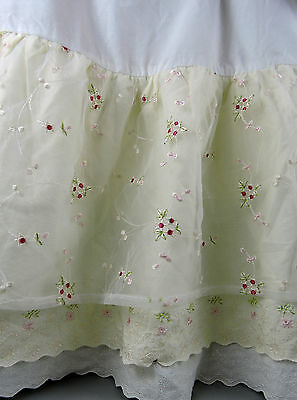 Crib Skirt Baby Girl Layered Embroidered Tulle Flowers White Cream Yellow Pink