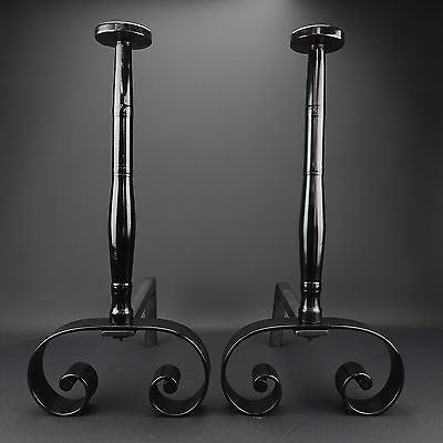 Vintage MCM  Heavy Tall Solid Metal Cast Iron Black Modern Fireplace Andirons