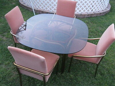 Bamboo / Brass / Tinted Glass Dining Table w/4 Brass & Fabric (Salmon) Chairs