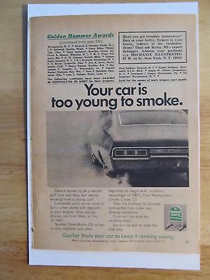 Vintage Original Print Ad~Quaker State Motor Oil~Your Car Is Too Young To Smoke