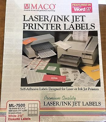 Maco Diskette Labels ML-7500 630 Labels Self Adhesive compare to  Avery 5196