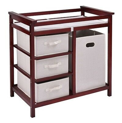 Baby Changing Table Diaper Station Infant Nursery With Drawers Hamper Wood Brown