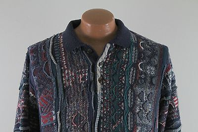 Vintage 3D Abstract 80s Sweater : Men's Large L / XL - Ugly Raised Cotton Blend