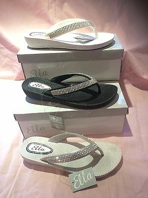 S1 Ladies Womens  Ella Toe Post Sandals Low Wedge Diamante Flip Flops Summer Sun