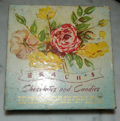 "Vintage Brach's Chocolates and Candies Box. Blue Floral 6"" x 6"" Box"