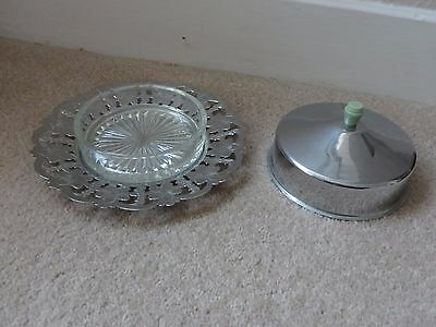 Vintage 'silver' Plate /chrome Jam/butter Dish With Inner Glass