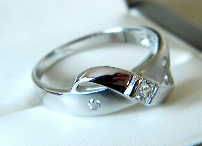 New Sterling Silver Ladies Modern Style Ring With Satin Finish Size Q
