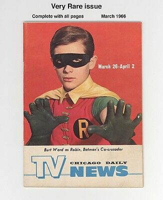 BATMAN'S ROBIN - TV NEWS  March 1966 - EXTREMELY RARE ROBIN PHOTO COVER