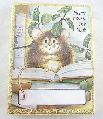 "Vintage Antioch Bookplates Set of 50 ""Please return my book"" w/ Mouse NEW"
