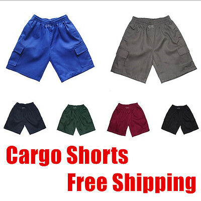 Kids Boys Girls Teen School Cargo Drill Shorts Uniform Sports Wear Pants Sz
