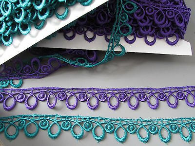 Teal or Purple Venise Lace  2.5cm x 1 metre   Crafts Sewing/Costume/Corsetry