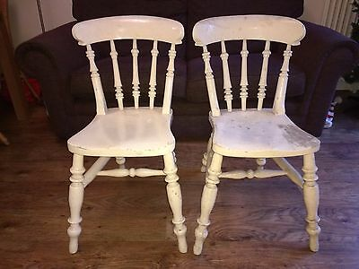Pair Victorian Kitchen Dining Chairs