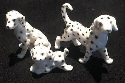 Vintage set of Miniature Dalmation dogs Family Bone China made in Japan