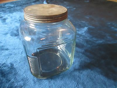 Vintage Large Square Glass Lidded Jar Ribbed Sides Canning/Cookie Jar Art Deco