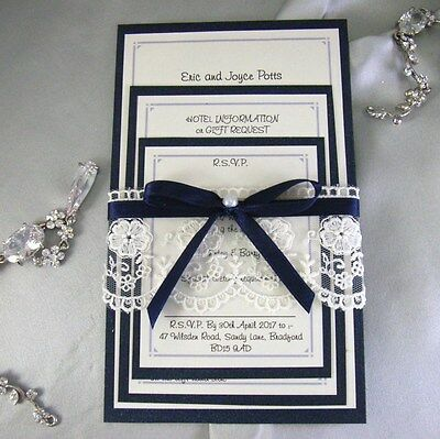 navy/midnight blue lace handmade wedding invitation set. rsvp (celia)