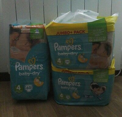 216 Couches Pampers Baby Dry - Taille 4 -  Maxi - 8 A 16 Kg
