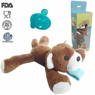 Infant Baby Pacifier Holder Silicone Plush Stuffed Animal UDS Teething Soother