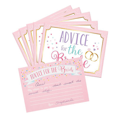 bride to be advice cards bridal shower hen party for 24 party guests bag favors
