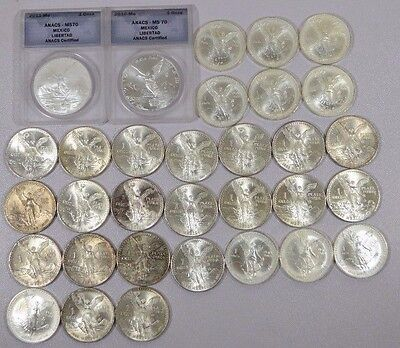 Lot of 32 1983 - 2011 Mexico Silver Libertad Coins