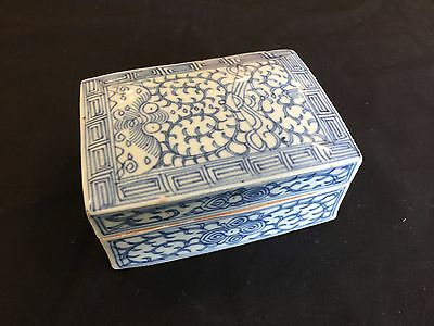 A Chinese Antique Blue and White Porcelain Box